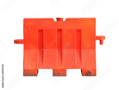 Portable traffic barrier (with clipping path) isolated on white