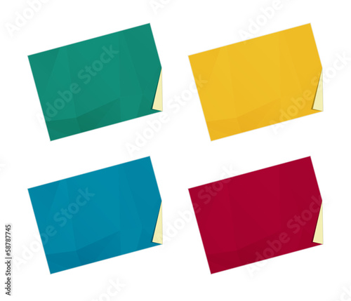 set of color templates with folded corner