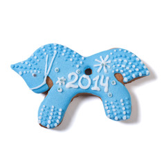 Christmas gingerbread blue horse 2014 isolated on white