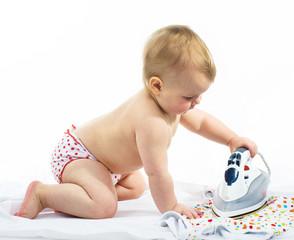 Little girl  ironing