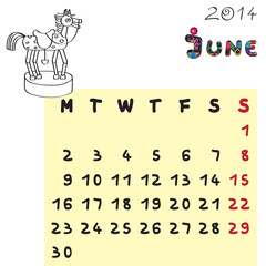 horse calendar 2014 june