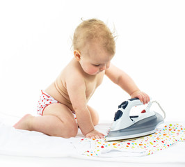 Little girl  ironing