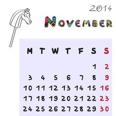 horse calendar 2014 november