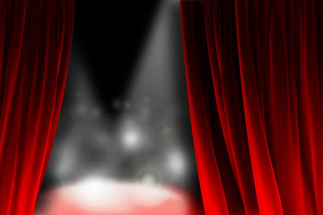 Behind the curtain watching a shining stage