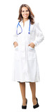 Full body of young female doctor, isolated