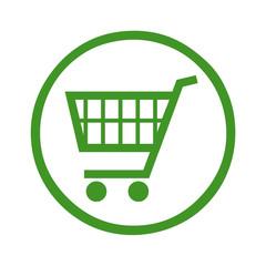 Einkaufswagen Symbol in einem grünen Kreis