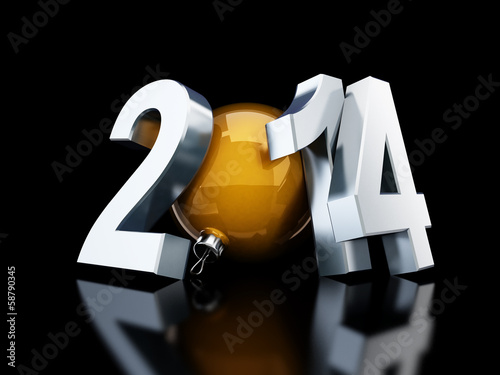 happy new year 2014 3d Illustrations on black background
