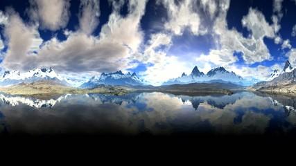 Big Sky over the mountains and lake