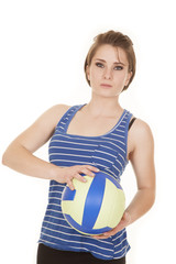 woman blue striped tank fitness volleyball hold