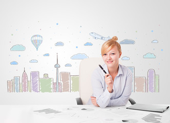 Pretty businesswoman with colorful city sky-scape background