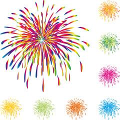 Feuerwerk, Raketen, Explosion, Vorlage, Set, Design