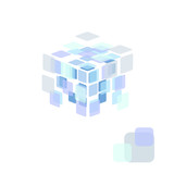 Abstract vector background. Transparent cube