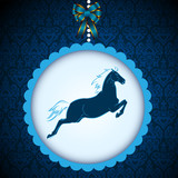 New Year2014 symbol blue horse card vector