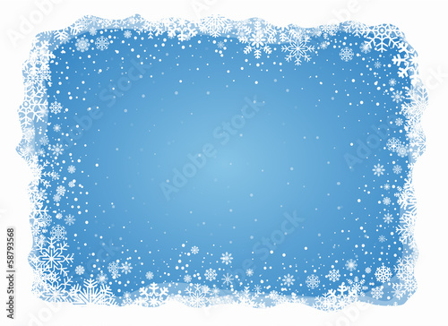 Fototapeta Vector frosty snowflakes background