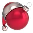 Christmas ball Happy New Year bauble decoration Santa hat icon