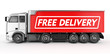 3d truck with free delivery text