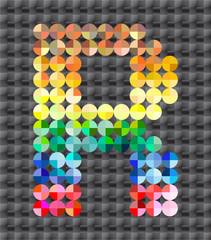 Alphabet of colorful mosaic, letter Q.