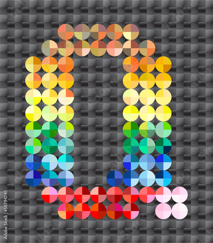 Alphabet of colorful mosaic, letter Q.