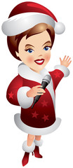Santa Claus girl holding microphone
