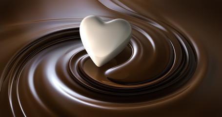 Weisses Herz mit Schokolade