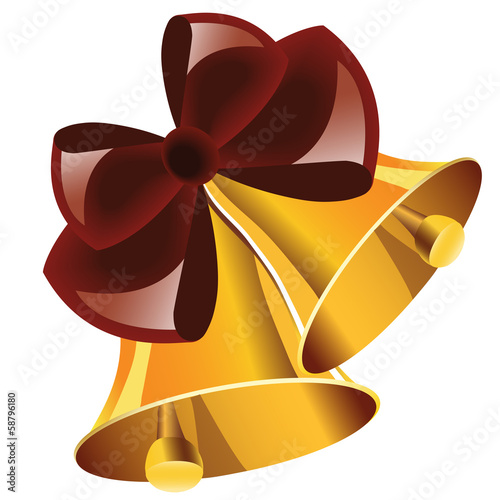 Christmas bells with red bow on white background.