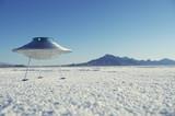 Silver Metal Flying Saucer UFO White Desert Planet Landscape