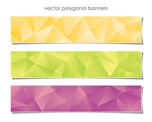 Polygonal banners in hot colors