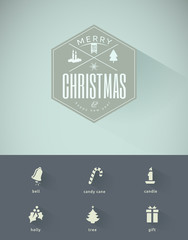 Vintage styled Christmas Card  and Christmas icons