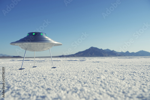 Silver Metal Flying Saucer UFO White Desert Planet Landscape Poster