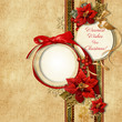 Merry Christmas. vintage card with frame&poinsettia
