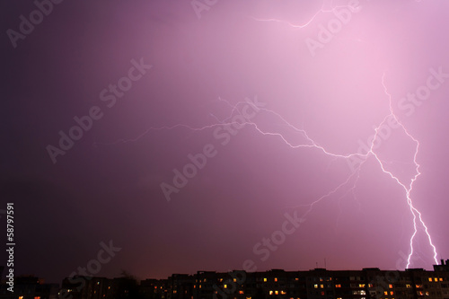 lightning over big city