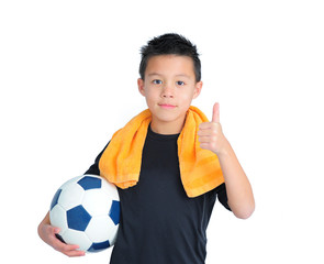 Boy with a Football Holding Thumb Up