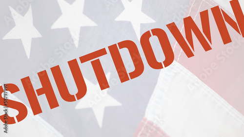 American flag with the word shutdown in red type