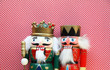 colorful nutcrackers with a polka dot background