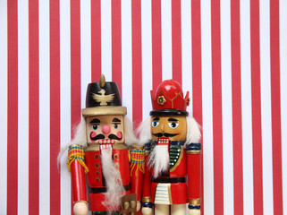 nutcrackers on red and white stripes
