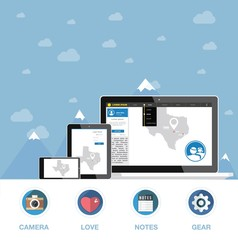 Flat design, communication devices with website graphic elements