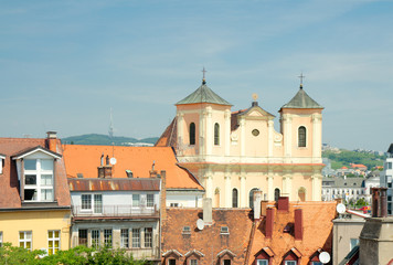 View of roofs of old town and Trinitarian Church (1717), Bratisl