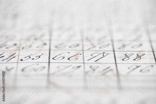 closeup of vintage handwritten numbers