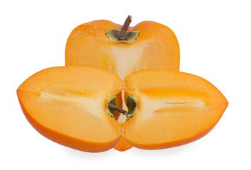slice of persimmon on a white background