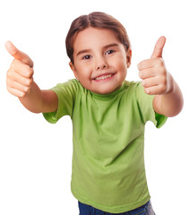 baby girl emotions raised her thumbs up smiling symbol indicates