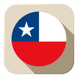 Chile Flag Button Icon Modern