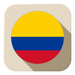 Colombia Flag Button Icon Modern