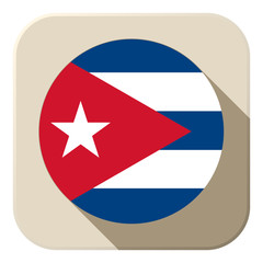 Cuba Flag Button Icon Modern