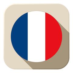 France Flag Button Icon Modern