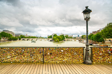 Love padlocks on Pont des Arts bridge, Paris, France.
