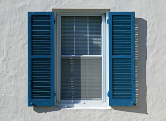 Blue Window Shutters, Open