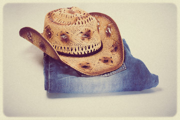 Cowboy jeans and hat