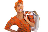 happy black woman carrying shopping bags