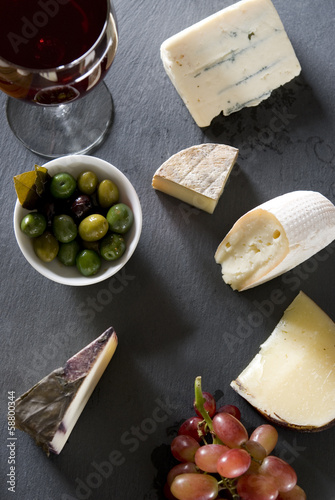Overhead shot of a cheese plate.