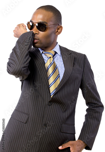African American spy or bodyguard in a suit and tie